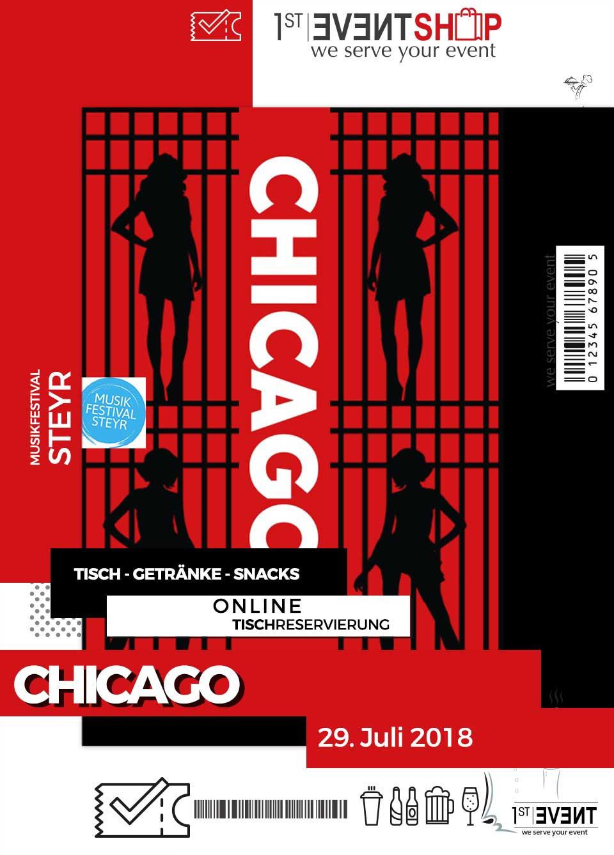 CHICAGO, Stehtischreservierung 29.07.2018 – Festivals Shop